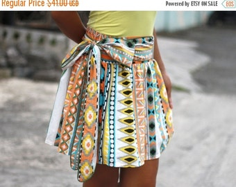 CHRISTMAS SALE Tribal Skirt, Aztec Skirt, Tribal Mini Skirt with sash
