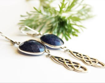 Blue Sapphire Earrings, 925 Sterling Silver, celtic knot charms, deep blue gemstone, statement earrings, boho earrings, September birthstone