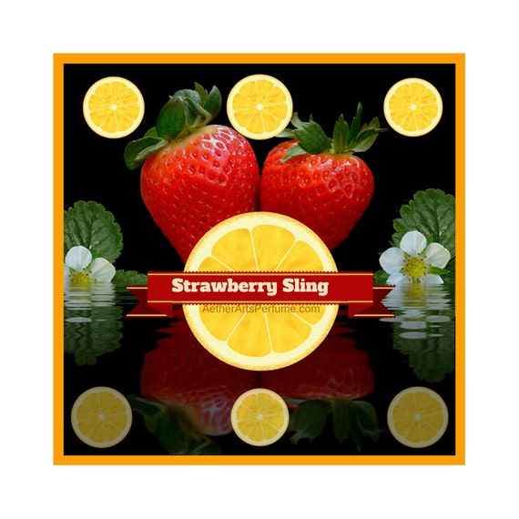Strawberry Sling a Berry Perfume based on cocktail! A Fresh, Effervescent, Unisex, Eau de Cologne, Scent with Strawberry, Lemon, & Rosemary