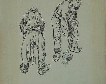 vintage ink drawing of man with shovel