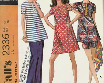 McCall's 2336 Maternity Dress Or Top, Pants Or Shorts Sewing Pattern, Size 16, UNCUT