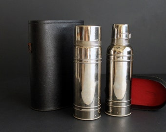 Vintage Icy Hot Thermos Set of Two Stainless Steel Chrome Hot and Cold Canteen With Carying Case Nickel Plated Vacuum Bottle