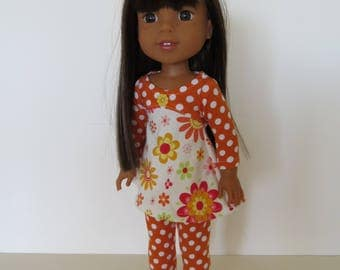 "Made To Fit Like 14.5"" Wellie Wishers Doll Clothes: Doll Leggings with Cotton Knit Dress; Dress for Wellie Wishers Doll; Doll Leggings"