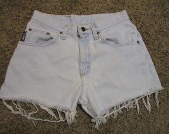 "Vtg LEE Cut Off Jean Shorts Hot Pants size 30 High Waisted 30"" waist GRUNGE Free SHIPPING U S A !!!"