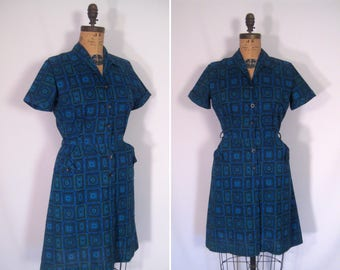 1950s mid-century medallion print day dress • 50s blue geometric abstract print shirtwaist dress • vintage once upon a time dress