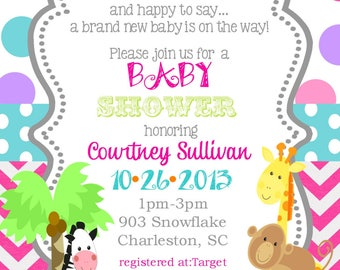 12 Jungle Animals Baby Shower invitations -safari animals-ANY COLORS