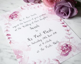 Floral Wedding Invitation, Day/Evening Wedding Invitation, Wedding Invite Suite, Watercolour Rose Wedding Invite