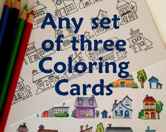 Set of three Coloring Cards, 5x7