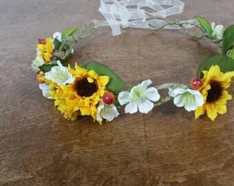 wedding accessories, bride haircrown,  hair crown ,boho bridal hair crown, woodland sunflower crown, ready to go, wedding, bridal headpiece