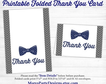 Little Man Baby Shower Thank You Card Folded - Bow Tie Onesie Boy Navy Suspenders White Gray  - Printable Instant Download