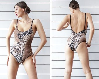 Vintage brown black cheetah animal print low back one piece swimsuit S