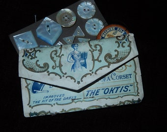 Antique Victorian paper pin case advertising The 'Oktis' Corset shield sewing collectible sewing pins
