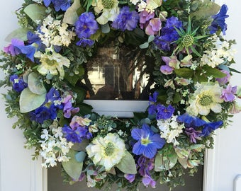 White Lilac with Periwinkle Morning Glories and Pansies with Lavender Sweet Peas Wreath