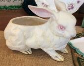 Vintage Lefton Easter Spring Bunny Rabbit Vase Planter