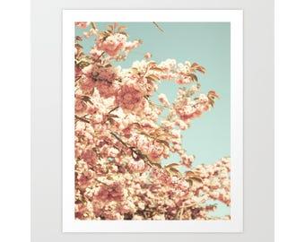 SALE Girl nursery wall art girl nursery decor girl, canvas art, cherry blossom art, large wall art, flower photography, blush pink wall art
