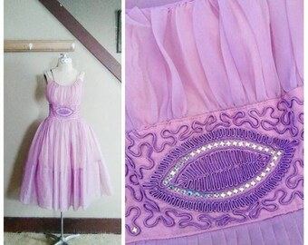20% OFF / In the Land of Faerie 1950s Purple/Pink Tulle Party Dress with Soutache/Aurora Borealis Rhinestone Detail