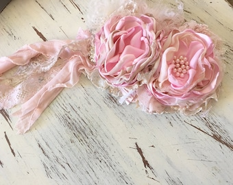 Shabby Chic Pink headband- Baby Girl Headband- baby Headband- Flower Girl Headband- matilda jane- Persnickety Headband- Photo Prop