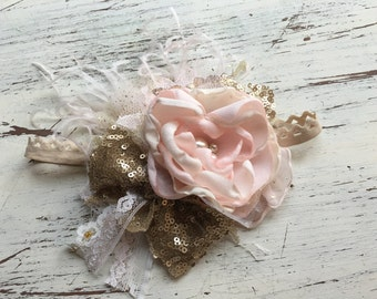 Lost Girl Golden Bow Headband- Baby Girl Headband- baby Headband- Flower Girl Headband- matilda jane- Persnickety Headband- Photo Prop