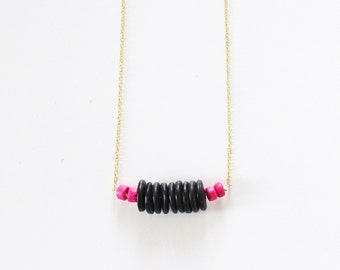Dainty Necklace.              Modern Wooden Necklace.      Hot Pink and Black Simple Jewelry.    Minimal Jewelry with a Charitable Donation
