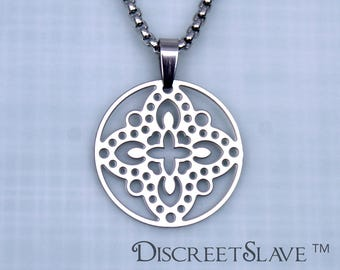 Stainless Steel Female slave pendant. Lace design. For owned slaves, submissives and persons into BDSM relationships