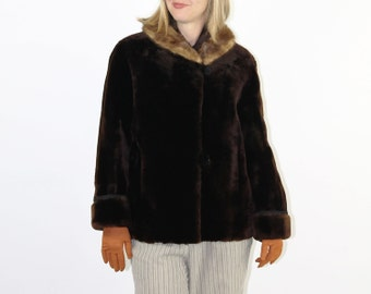 Mouton Fur Coat // Fur Coat 50s // Fur Coat Sheep // Vintage Fur Coat // Sheep Fur Jacket // Short Fur Coat // Brown Fur Coat