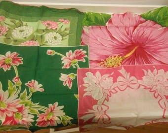 4 vintage handkerchiefs hankies pink green floral