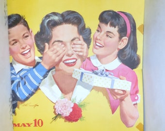 1959  Litho Poster Mother's Day Advert . / Bright Yellow Retro Graphic