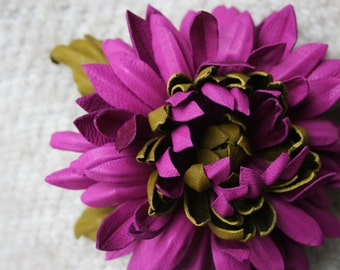 Magenta/Olive Leather Chrysanthemum Flower Brooch/ Hairclip