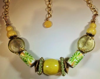 Necklace Handmade Huge Chunky Ceramic Brass Vintage Art Glass and Mother of Pearl Beads Sunny Yellow Spring Summer Forest to Runway Unique