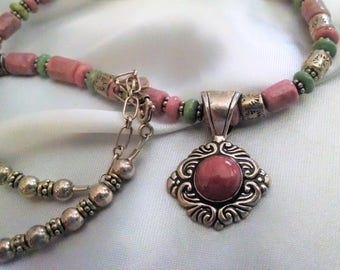 Necklace Vintage Designer Genuine Rhodonite Sterling Silver Beaded Adjustable Signed with Removable Pendant Elegant Boho Chic