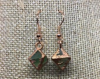Green Fluorite Electroformed Copper Earrings