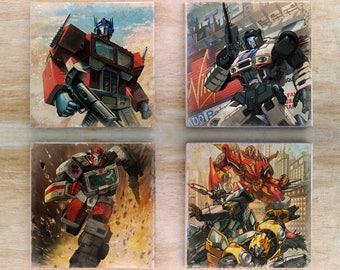 Stone Transformers Coaster set - Vintage Retro Comics Autobots Optimus Prime Jazz Ratchet Rodimus Prime Wheeljack Bumblebee Marvel Hotrod