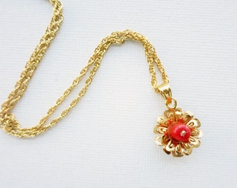 Tiny Vintage Coral Silver Pendant in Gold-Plated Finish with New Chain
