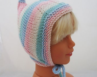 Hand knitted Baby Pixie Bonnet, Baby Pixie Hat, Baby Elf Bonnet, Toddler Hat, Baby Hat