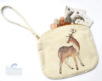 Reindeer Canvas Zip Purse, Makeup Bag, Coin Purse, Small Accessory Pouch