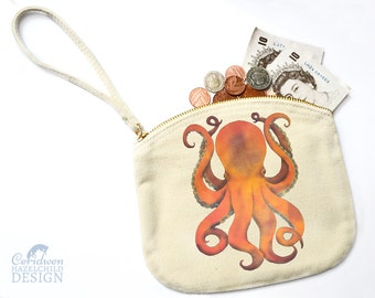 Octopus Canvas Zip Purse, Makeup Bag, Coin Purse, Small Accessory Pouch