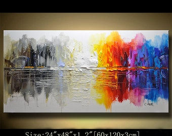 contemporary wall art,, Modern Textured Painting,Impasto  Landscape  Textured Modern Palette Knife Painting,Painting on Canvas by Chen 0218