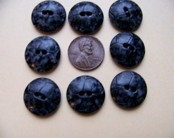 Set of 8 Vintage Speckled Buttons Dark Blue & Gray Mottled Buttons  3/4""