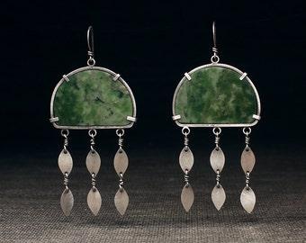 Jade Panel Earrings with Leaves