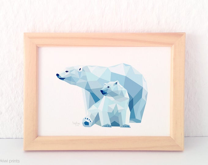 Polar bear wall art, Bear illustration, Mother and child art, Baby bear art for nursery, Geometric bear, Arctic animals theme, Baby room art