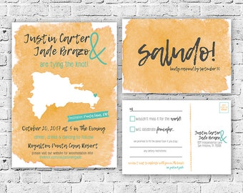 Destination Dominican Republic Wedding Invitation and RSVP Postcard Set Digital File, Printing Service Avail, Watercolor, Printable, Custom