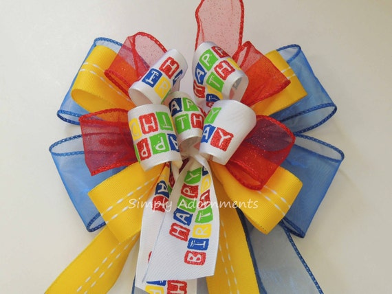 Happy Birthday Gift Bow Red Blue Yellow Hero Birthday Bow Superhero Birthday Party Decor Funky Birthday Gift Bow Door Hanger Birthday bow