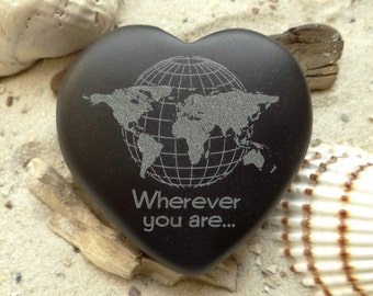 Heart world map Declaration of love Wherever you are... Engraving basalt - heart - lucky charm - mojo - world map - engraving