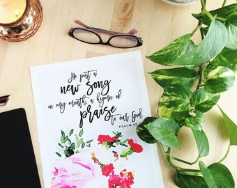 Sing a New Song // Psalm 40 // Christian Bible Verse Scripture Print by Mercy Ink
