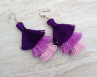 Silk Tassel Drop Earrings Purple Silver Ombre Combo Tassle Earrings Festival Tassel Earrings Tassle Earings BOHO Earrings Summer Jewelry