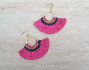 Tassel Hoop Earrings Fuschia Tassel Fringe Earrings Layered Tassel Earrings Gypsy Tassle Jewelry Trending Now Wholesale Jewelry