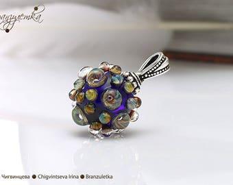 Galaxy - lampwork ball pendant blue with drops - silver plated supplies