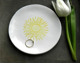 Sun Mandala White Porcelain Ring Dish, Yellow Sun Ceramic Plate Jewelry Dish geometric  Home Decor, Porcelain Trinket Dish