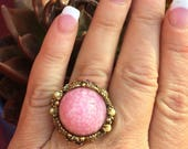 1950 1960 Pink West Germany Filigree Statement Ring Renaissance Wedding Fantasy Bride