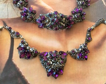 Czech Necklace Bracelet Demi Parure 1930 1940 Amethyst Filigree Bridal February Wedding Birthstone